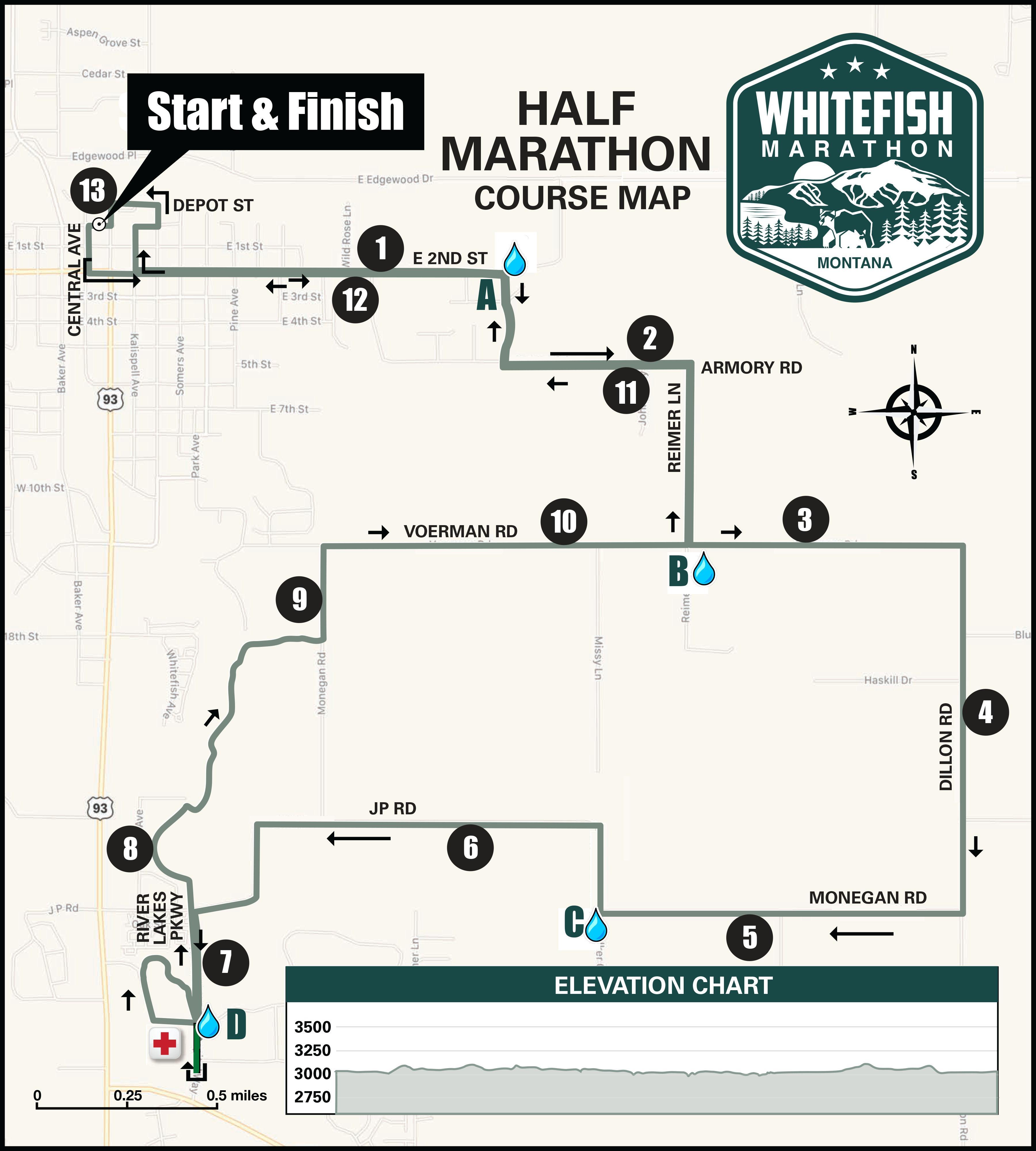 2020 Whitefish Half Marathon Course Map R2